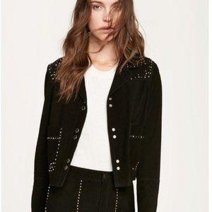 Rebecca Minkoff Arnie Suede Black Studded Jacket M